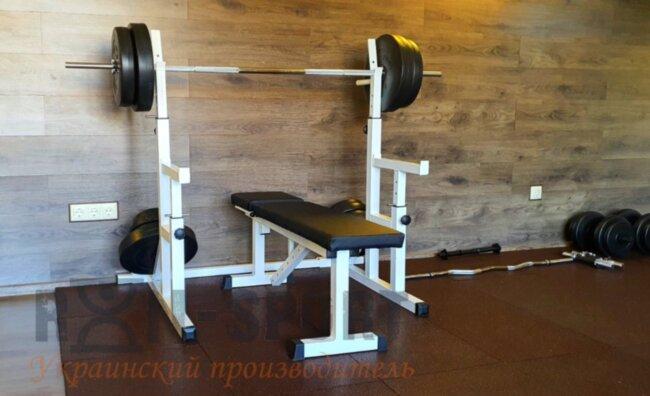PProf 0115. Скамья для жима, стойки для приседаний + 115 кг блинов и 3 грифа