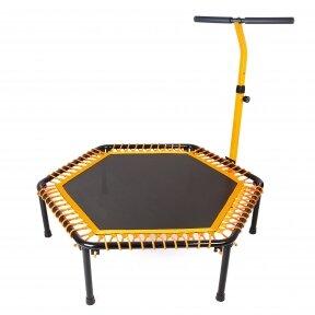 Фитнес-батут с одинарной ручкой шестиугольный d-127см, черный-оранжевый