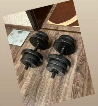 Две гантели RN 8 кг с ABS  покрытием + Эспандер и скакалка