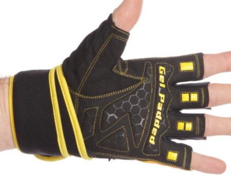Перчатки для тяжелой атлетики Maraton, размер L, черно-желтый