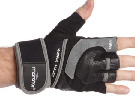 Перчатки для тяжелой атлетики Maraton размер L , черно-серый