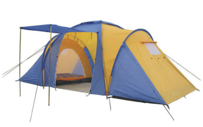 Палатка  4-х мест 2-х комнатная с тентом и тамбуром FAMILY (2,1x(1,4+1,7+1,4)х1,7м)