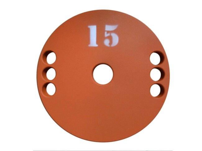 Диск (блин) для штанги стальной, крашенный 15 кг - 51 мм
