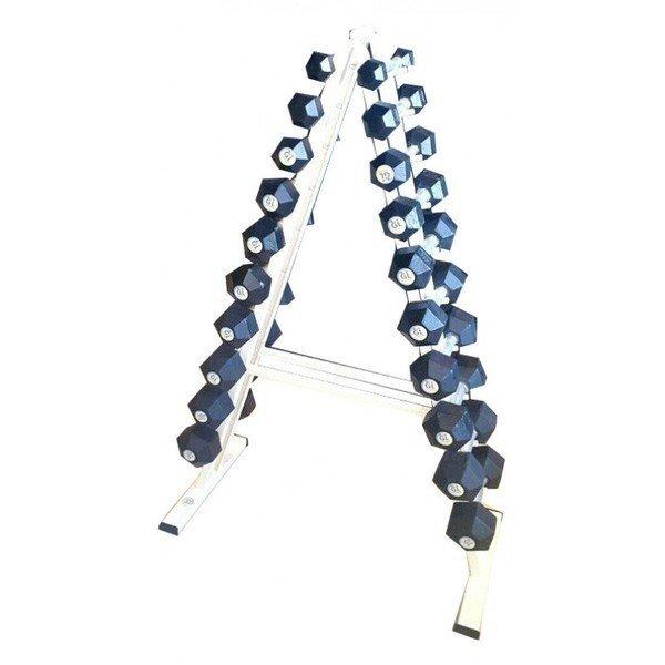 Гантельный ряд гексагоняльный от 1 кг до 10 кг со стойкой