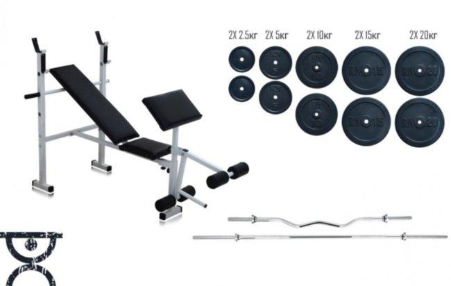Скамья для жима RN Sport универсальная + Штанга 115 кг + EZ-гриф