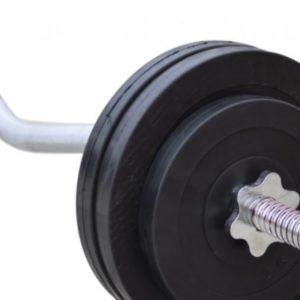 Штанга с обрезиненными дисками RN-Sport W-образная 50 кг