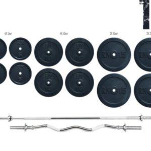 Штанга для жима Rn-Sport с прямым грифом 140 кг + W-образный гриф