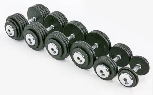 Гантельный ряд профессиональный RECORD от 2.5 до 35 кг