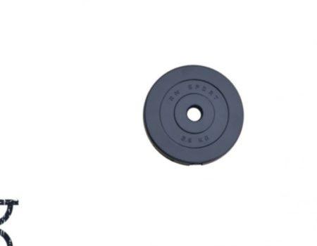 50 кг (2 по 10, 8 по 2,5, 8 по 1.25) дисков, покрытых пластиком (31 мм)