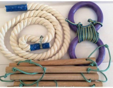 Набор детского навесного оборудования. Лестница+канат+кольца